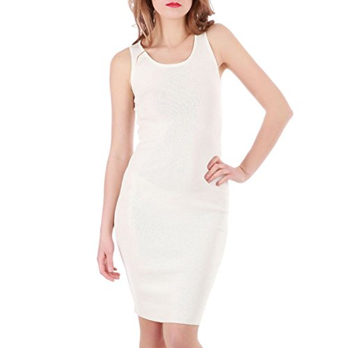 La Modeuse - Robe moulante extensible en maille Blanc