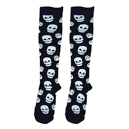 VORCOOL 1 Paar Kompressionsstrümpfe mit Totenkopf Muster Lange - Halloween Socken