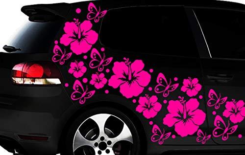 HR-WERBEDESIGN 108-teiliges Auto Aufkleber Hibiskus Blumen Schmetterlinge Hawaii WANDTATTOO l3p (Blume Auto Aufkleber)