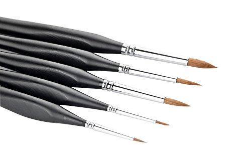 5 PC Bestes Berufs-Detail Pinsel, Qualitäts-Miniaturbürsten ein Fine Point und Spring halten, für Aquarell, Öl, Acryl, Nail Art & Modellbau