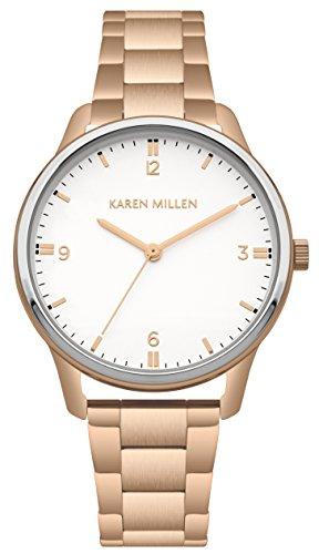 Karen Millen Femme Analogique Classique Quartz Montre avec Bracelet en Acier Inoxydable KM167RGM