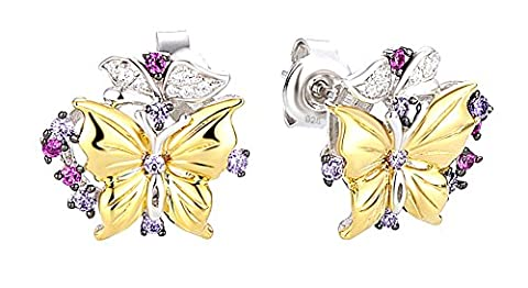 SaySure - Stud Earrings Butterfly Gem Stone Amethyst Created