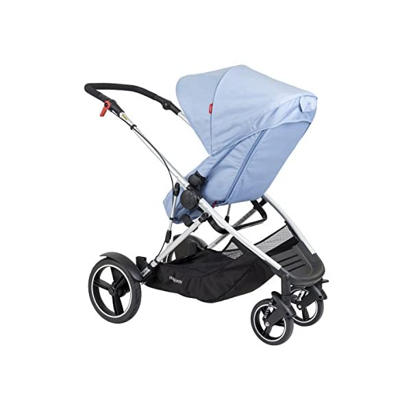 phil&teds Voyager Buggy Pushchair, Blue phil&teds 4-in-1 modular seat with four modes: parent facing, forward facing, lay flat bassinet (on buggy) and free standing bassinet (off buggy) Revolutionary stand fold with 2 seats on Double kit easily converts to lie flat mode as well 5