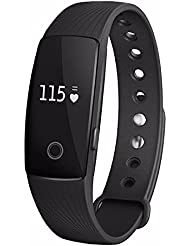 Fitness Band, HuiHeng ID107 Bluetooth 4.0 Smart Bracelet Smart Band Heart Rate Monitor Fitness Tracker for Android iOS Smartphone