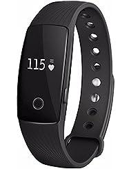 Bracelet Smart, huiheng id107Bluetooth 4.0Smart Bracelet moniteur de fréquence cardiaque Tracker de fitness pour IOS Android Smartphone, noir