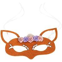 MagiDeal Máscara de Forma Zorro Accesorios para Halloween Mascarada Fiesta Drama Obra de Teatro Actuación - naranja