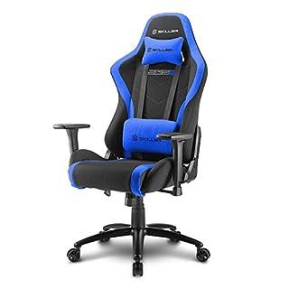Sharkoon Skiller SGS2 Hochwertiger Gaming Seat mit Stoffbezug, Robuste Stahlrahmenkonstruktion, Flexibel einstellbare 3-Wege-Armlehnen, Stabile Gasdruckfeder, 60 mm Rollen, schwarz/blau