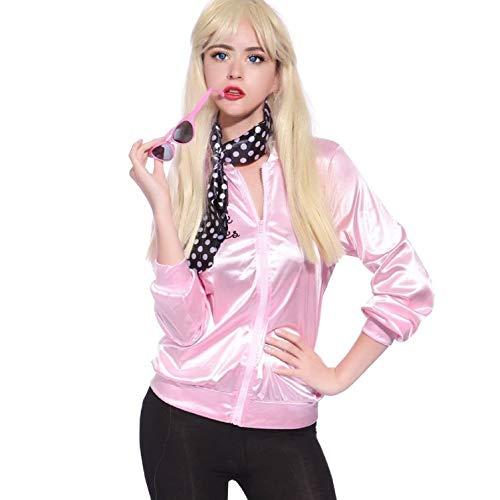 Damen Pink Lady Jacke 50er Jahre Kostüm Rock Roll Lady mit Schal