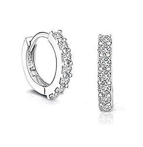 Shining Diva Fashion 925 Sterling Silver Bali Stud Rhinestone Earring for Women