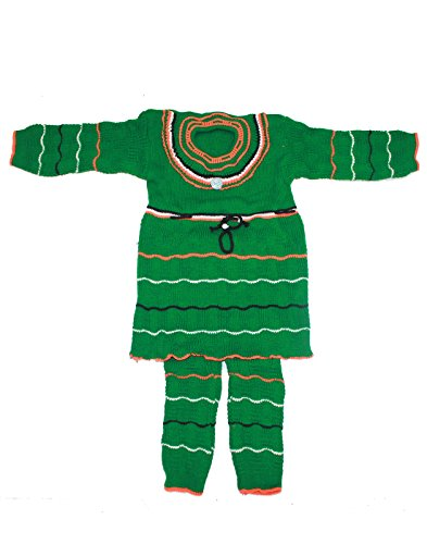 Babeezworld Baby Girl's Woollen Knitted Front Open Full Sleeves Cardigan Jhabla Top Sweater & Full Length Baby Woolen Pant Pajamas With Elasticated Waist Winter Wear Suit Set (Baby Pack Kids 2 pcs Set)  available at amazon for Rs.399