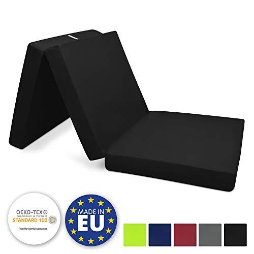 Beautissu Matelas Pliant d'appoint Campix - Pouf Pliable - 80 x 195 cm - Confortable lit d'invité - Futon - Noir