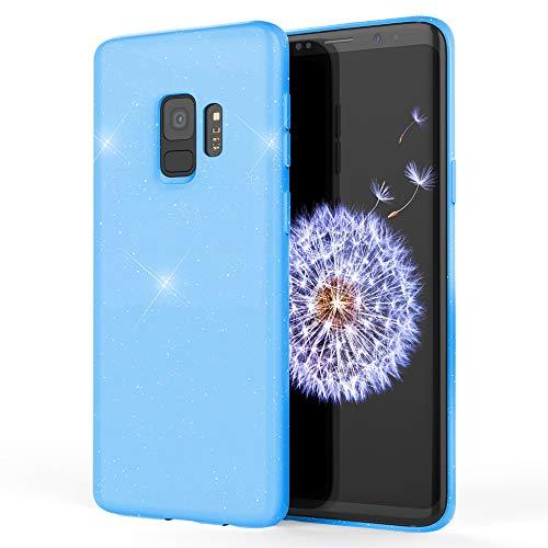 NALIA Glitzer Hülle kompatibel mit Samsung Galaxy S9, Schimmernde Ultra-Slim Silikon Handyhülle Cover Glitter Schutzhülle, Dünnes Case Etui Handy-Tasche Bumper Phone Skin Backcover, Farbe:Blau Phone Cover Glitter