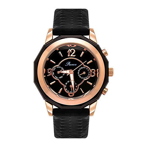 LKTGBRCVZJU Relojes Marea Moda Gran dial multifunción Reloj de Moda de Seis Pines Correa de Personalidad Femenina Reloj Impermeable Pareja Reloj Marea de Reloj de Cuarzo, Negro