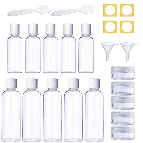 TUPARKA Set da viaggio formato bottiglia 10 pezzi da 50 ml da 100 ml Contenitori da viaggio in plastica trasparente bottiglia con 5 vasi cosmetici 5 imbuti piccoli e 5 spatole, 25 pezzi in totale