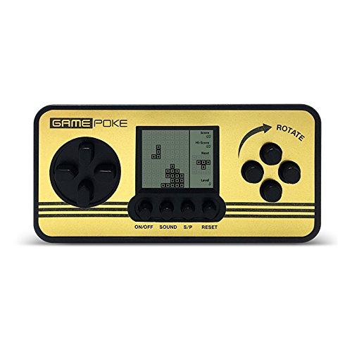 Mini Pantalla Tetris Juguetes Retro Niños Clásico Jugadores Portable Tetris Handheld Construido en 23 juegos (Black)