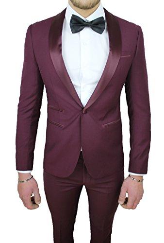 Abito Completo Uomo Sartoriale Bordeaux Raso Vestito Smoking Elegante  Cerimonia a606642a979