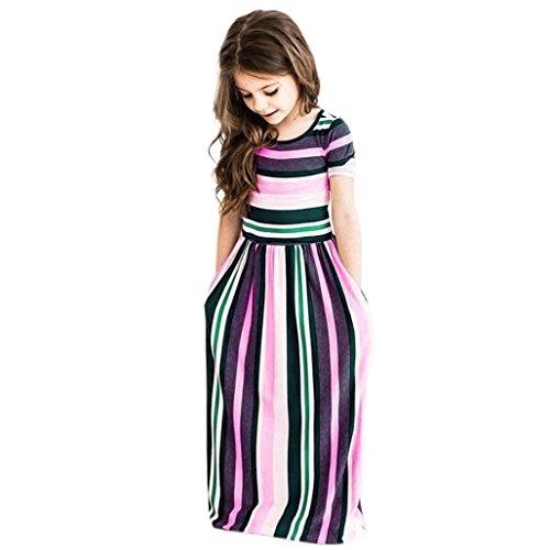 ar Kleider Outfits Kleinkind Baby Mädchen Striped Langes Kleid Kinder (Cinderella Kleid Für Kleinkinder)