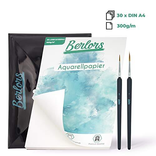 BERLORS ® [30x] Blatt DIN A4 Aquarell Papier 300g - Set mit zwei Detailpinseln - inkl. Aufbewahrungsheft - glatte Vorderseite & raue Rückseite