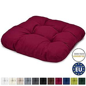 Beautissu Stuhlkissen 40x40 cm Lisa - Bequemes 8cm Kissen für Stuhl & Bank - Gepolstertes Sitzkissen Stuhl für Ihre Esszimmer Stühle und Bänke - Sitzpolster in Rot