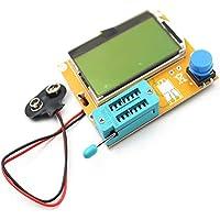 JIUY LCR-T4 Medidor de prueba de transistor digital LCD Medidor de retroiluminación Diodo Triodo Capacitancia Medidor de ESR para MOSFET/JFET/PNP/NPN L/C/R 1 (Blanco)