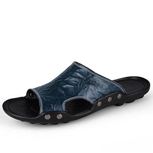 Männer Leder Slipper handgefertigte Vintage Flip Flops Mode und bequeme Sandalen Blue