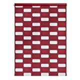 Lichtblick Duo Rollo Arena, 70 x 150 cm in Rot, Doppelrollo für Fenster & Türen, ohne Bohren, Jalousie & moderner Sicht- und Sonnenschutz