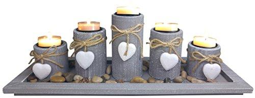 khevga Teelichthalter-Set Windlicht-Tablett Tisch-Dekoration Wohnzimmer im ()