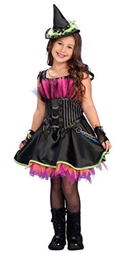 Mädchen Steampunk Gothisch Emo Rock Hexe Halloween Kleid Party Kostüm Outfit 3 - 10 Jahre - Schwarz, Schwarz, 3-4 Years (Steampunk-kostüm Für Kinder-mädchen)