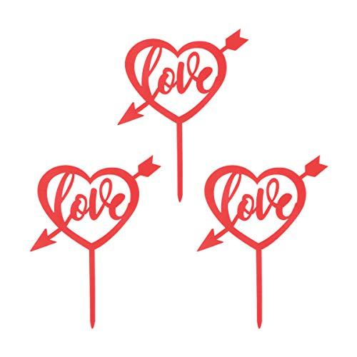 Supvox toppers cupcake a forma di cuore rosso per torta decorazione matrimonio san valentino 3pcs