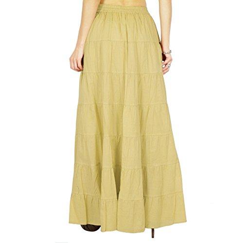 Phagun Rock lange Maxi Rock Strand Abnutzungs Baumwolle Sommer Kleidung tragen Hell beige