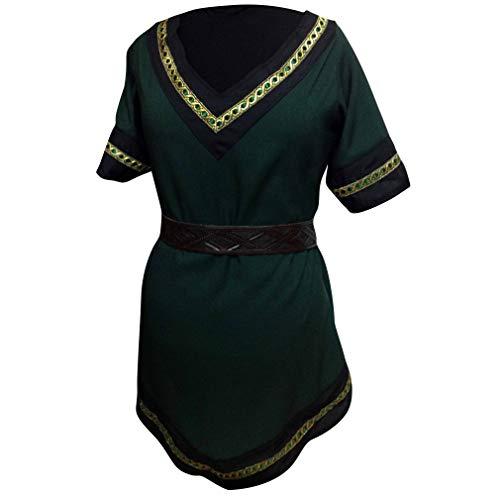 Damen Mittelalterlich Hemden - Retro Renaissance Mittelalter Gothic Tunika mit Gürtel Mode Kurze Ärmel V-Ausschnitt T-Shirts Blusen Tops Kostüm für Halloween Cosplay Kostüm