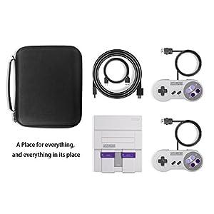 SNES Classic Mini Tasche, Keten Deluxe Tasche für Super Nintendo Classic Mini Konsole (2017), passend für 2 Controller und HDMI Kabel, perfekter Schutz für Super Nintendo