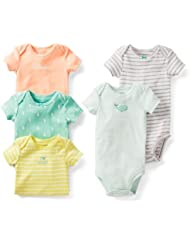 Carter's Baby Girls 5 Pack Short Sleeve Bodysuit Set (12 Months, Green/Multi) Color: Green/Multi Size: 12 Months (Baby/Babe/Infant - Little ones)