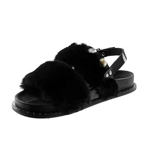 Angkorly Chaussure Mode Sandale Mule Plateforme Lanière Cheville Femme Fourrure Perle Bijoux Talon Plat 2.5 cm Noir