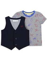 The Essential One - Baby Kinder Jungen Weste und T-Shirt Set / Outfit - Grau/Blau/Rot - EOT233