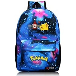 Cuero de la vaca Piel Cartera Multi-bolsillos Monedero Cartera fina hombre Anime Purse Pokemon Go Bag Pikachu Azul Mochila militar Mochila