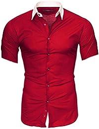 Kayhan Homme Chemise Slim Fit Repassage Facile, Coton, Manches Courtes Coupe Parfaite, Produit de qualité Modell - Florida + Hawaii S M L XL XXL