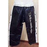 Pantalón de Full Contact Raso (Negro/Detalle Blanco) 3 Tallas (L-1,80)