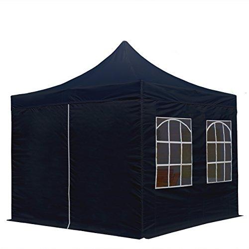 TOOLPORT 3x3m Pavillon Faltpavillon inkl. Seitenteile Stahl Faltzelt Garten Partyzelt schwarz