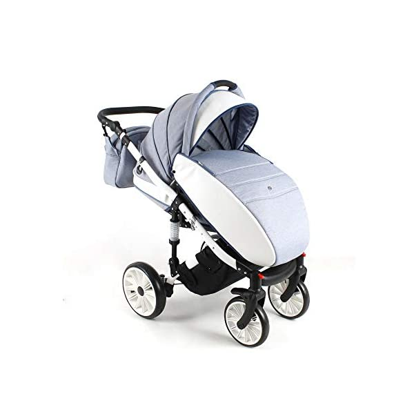 Travel System Stroller Pram Pushchair 2in1 3in1 Set Isofix Ottis We by SaintBaby White OW-02 4in1 car seat +Isofix SaintBaby 3in1 , 2in1 or 4in1 selectable with isofix. With 3in1 you get the car seat (baby seat) in addition. With 4in1 you get both the infant carrier with Isofix mount and an Isofix base for your car. Of course, each set includes the infant carrier (classic stroller) and the buggy attachment (sports seat). The free accessories are also included in each set (changing bag, mosquito net and rain hood). Of course the car complies with the EU safety standard EN1888. During the production as well as before shipping, each car is carefully checked, so that you can be sure to have one of the best cars. Saintbaby stands for all-round carefree packages, so you also get a changing bag in the colour of the car, as well as rain and insect protection free of charge. With all the colours of this pram you will find the pram of your dreams. 6