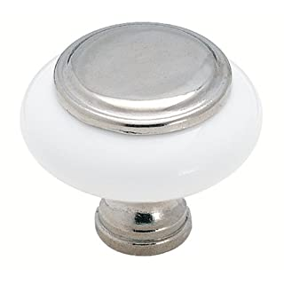 Amerock BP76246–26W weiß Keramik Knopf mit Chrom Center