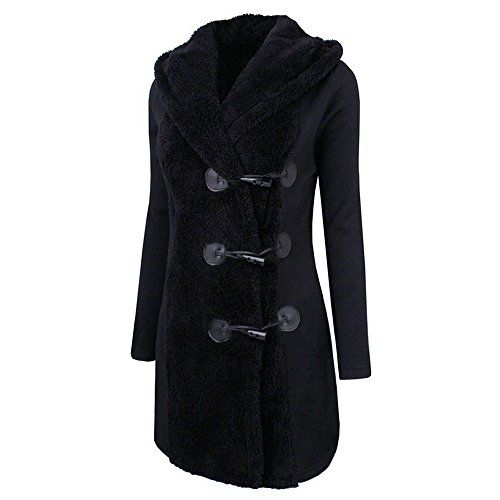 Wintermantel Damen Felicove, Mode Winter Plus dicke warme Knöpfe Mantel Parka Hoodie Outwear