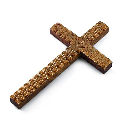 21,6cm handgeschnitzt Dunkle Farbe Ukrainische Holz Wand Kreuz
