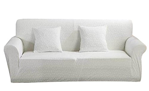 Icegrey Baroque Style Solid Sofa Cover Slipcover Sofa Couch Slip Over Easy Fit Stretch Covers Elastic Fabric Fit Sofa Protector For Pet White 2 Seater 57″-73″