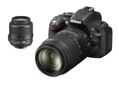 Nikon D5200 SLR-Digitalkamera (24,1 Megapixel, 7,6 cm (3 Zoll) TFT-Display, Full HD, HDMI) Double-Zoom-Kit inkl. AF-S DX 18-55 mm VR und 55-300 mm Objektiv schwarz (D5200 Nikon Digitale Slr-kamera)