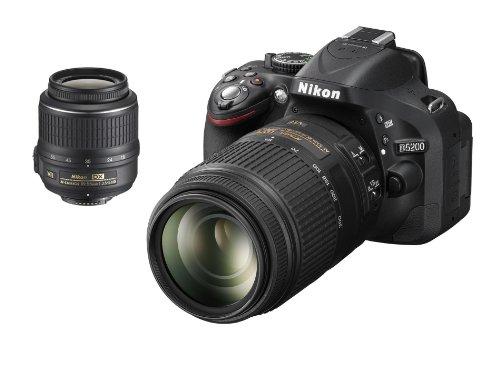 Nikon D5200 SLR-Digitalkamera (24,1 Megapixel, 7,6 cm (3 Zoll) TFT-Display, Full HD, HDMI) Double-Zoom-Kit inkl. AF-S DX 18-55 mm VR und 55-300 mm Objektiv schwarz
