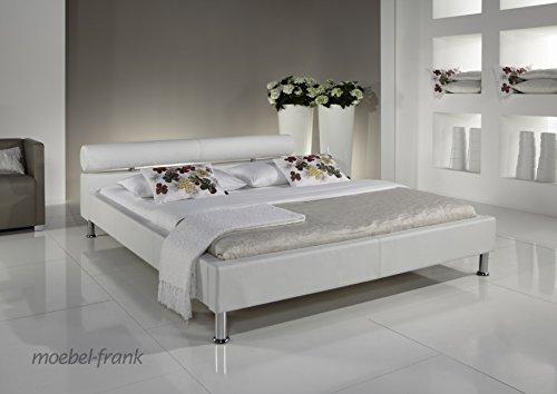 moebelfrank Polsterbett Andre weiss verschiedene Größen Kunst-Lederbett Bett Doppelbett