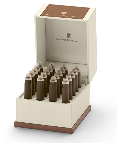 Graf von Faber-Castell 141146 Set Tintenpatrone Cognac, 20 Stück, braun