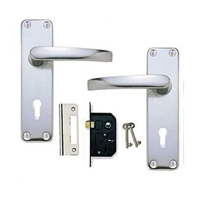 Aluminium SAA Lever Lock Door Handles +2 Lever Lock Set 2 keys (KA) - low-cost UK door handle store.