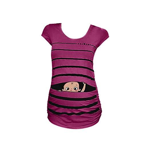 fc2e4fdbf Daringjourney Cuello Redondo Mujer Embarazada Camisa Estampada Rayas  graciosas Lindas de bebé.